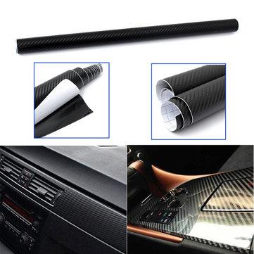 50x127cm Black 3D Twill-Weave Carbon Fiber Vinyl Film Wrap Sheet