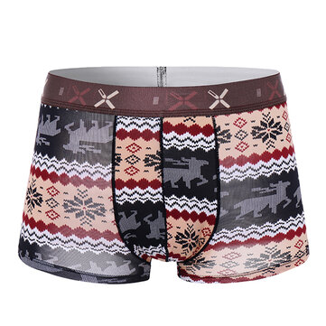 Ice Silk Impression respirante à motifs imprimés U Convex Camo Colorful Comfy Boxers Briefs for Men