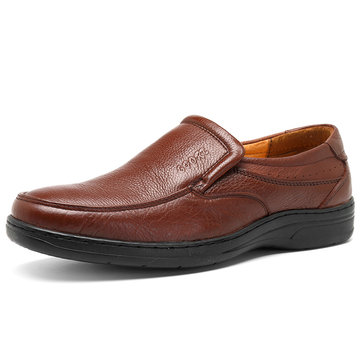 Men Casual Business Soft Genuine Leather Comfortable Slip On Oxfords