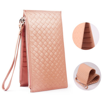 Men Women RFID Genuine Leather Long Wallet Credit Card Holder Zipper Wallet