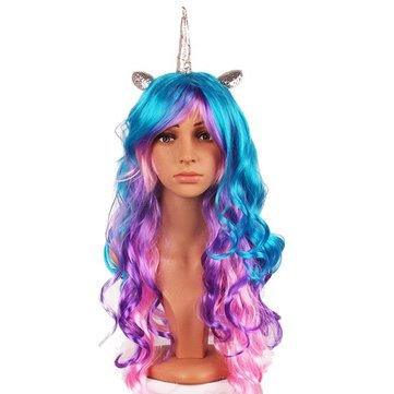 Halloween Party Full Anime Hair Cosplay Unicorn Colorful Wigs