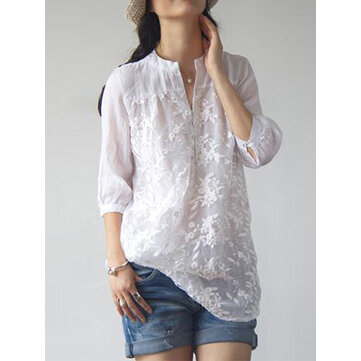 Women Floral Embroidery V-neck 3/4 Sleeve Blouse