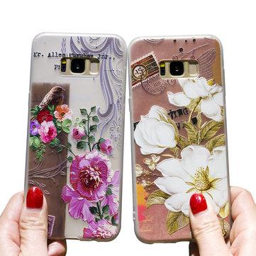 Bakeey 3D Kabartma Baskı Çiçek ve Kuşlar Soft Koruyucu Kılıf Samsung Galaxy S8 için