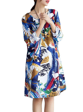Casual Women Elegant Printing Long Sleeve Loose Cotton Dress