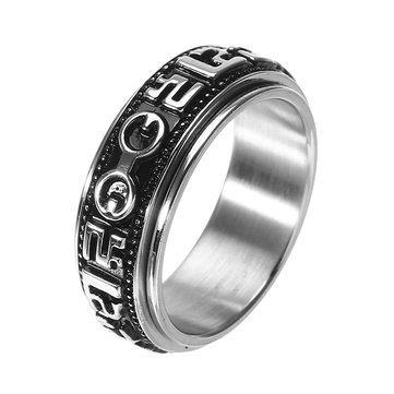 Stainless Steel Rotatable Mantra Men Ring Retro Gothic Finger Ring Unique Jewelry