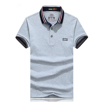 Business Casual Turn-down Polo Shirt Men's Pure Color Short Sleeve Cotton T-shirt