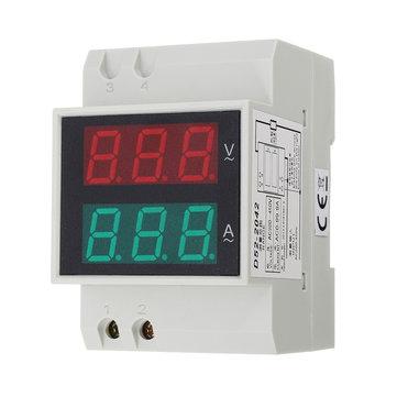 Din Rail AC LED Dual Display Volt Meterr Ammeter Voltage Ampere Gauge