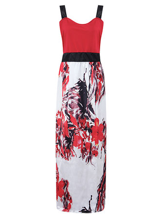 Gracila Women Sleeveless Strap Floral Printed High Waist Maxi Dresses