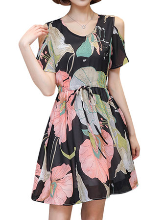 Women Floral Printed Cold Shoulder Dresses O-Neck Adjustable Waist Short Dress