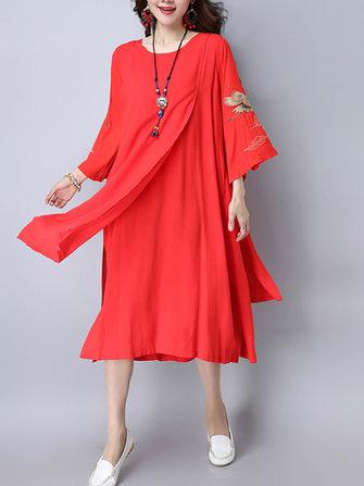 Folk Style Women 3/4 Sleeve Loose Broderie Side Split Dresses