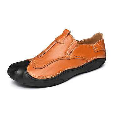 Men Soft Anti Collision Toe Wear Resistance Outsole Genuine Leather Oxfords