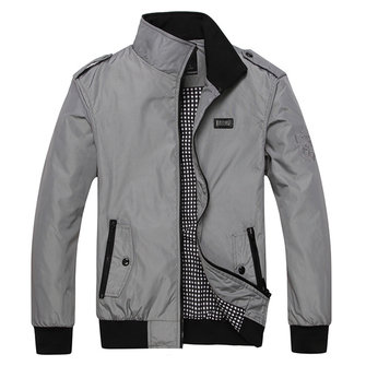 Mens Casual Business Zipper Stand Collar Autumn Jacket