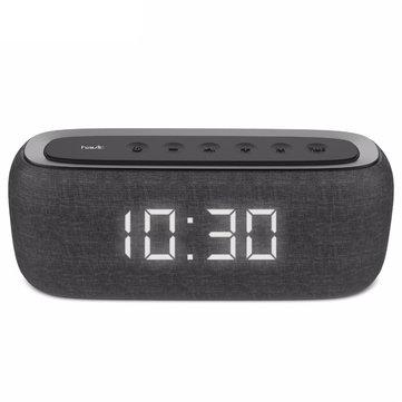 Havit M29 Wireless bluetooth Speaker Cloth Dual Alarm Clock Dual Drivers LED Display Stereo TF Card AUX Speaker with Mic