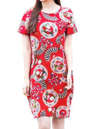เสื้อผ้าผู้หญิงแขนสั้นพิมพ์สไตล์วินเทจ