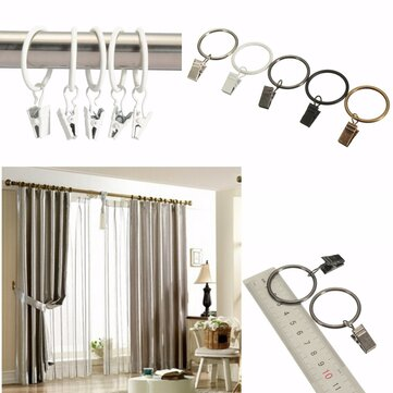 40pcs Metal Window Bathroom Curtain Clips Rings Pole Rod Voile Drapery 32mm Inner Diameter