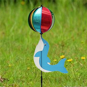 Dolphin juegos de bola molino de viento juguete animal viento spinner perinola césped jardín patio campamento decoración