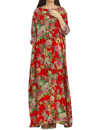 Retro Women Floral Printed Long Sleeve O-Neck Floor-Length Dress