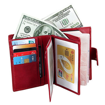 RFID Antimagnetic Women Men Leather Passport Wallet Purse