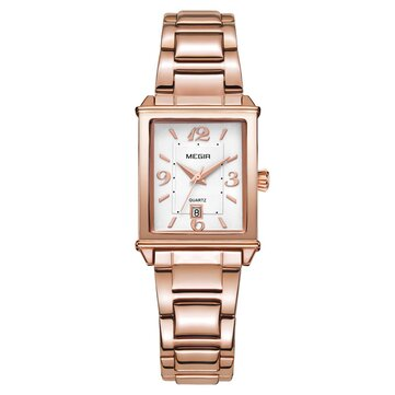 MEGIR 1079 Rose Gold Case Calendar Elegant Quartz Watch