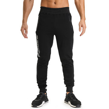 Spring Autumn Men's Casual Running Sports Pants Pure Color Elastic Waist Slim Fit Pants