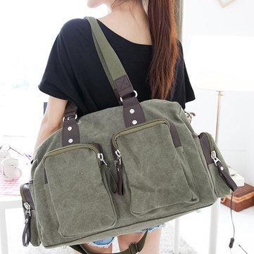 Brenice Women Casual Solid Crossbody Bag Canvas Handbag