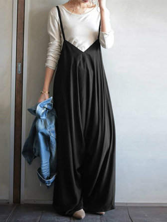 Women Sleeveless V Neck Straps Jumpsuits Wide Leg Overalls