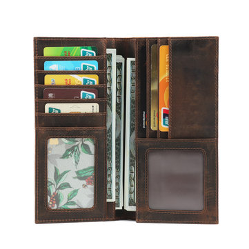 Epkhero Men Genuine Leather Long Vintage Wallet Card Holder