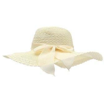 Women Summer Sun Beach Dome Hat Floppy Derby Wide-Brimmed Bow Straw Hat
