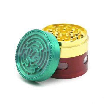 62mm 4 Piece Maze Табак Травокосилка Металл Spice Crusher Цинковый сплав Пыльца Catcher Курительные принадлежности