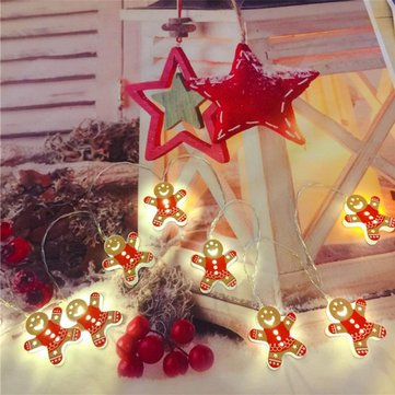 2M Battery Supply Red Snowman Shape Christmas Tree Party Holiday 10 LED String Light Indoor Lamp