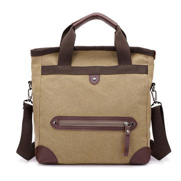 Men Retro Multi-function Large-capacity Canvas Handbag Messenger Bag Travel Backpack