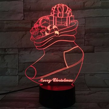 Christmas Stocking 3D LED Lights Colorful Touch Night Light Gift USB Table Visual Lights