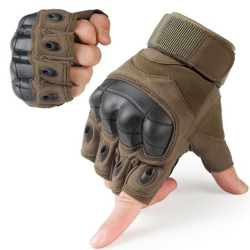 Tactical Gloves Military Fingerless Hard Rubber Knuckle Half Finger