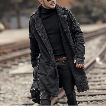 Mens Plus Size Wool Blend Double Side Wearable Thicken Warm Fur Wool Blend Mid Long Coats