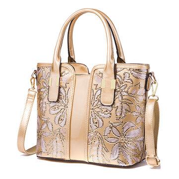 Women Sequin Patent Leather Handbag