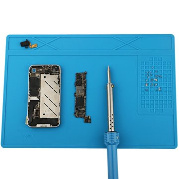 31x21cm Silicone Pad Heat Insulation Desk Mat Maintenance Platform for BGA Soldering Repair Station with Screw Position