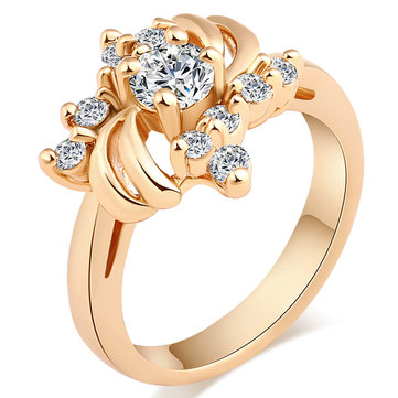 Trendy Flower Gold Rings Luxury Zirconia Ring Wedding Engagement Rings for Women