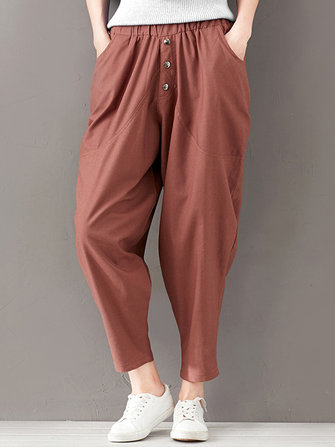 Casual Solid Big Pockets Elastic Waist Women Harem Pants