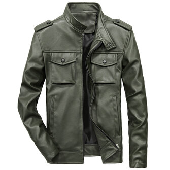 Mens Multi-pocket Autumn Solid Color Faux Leather Jacket