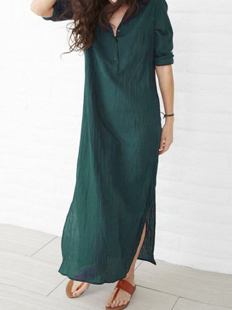 Women Pure Color Buttons Split Hem Maxi Shirt Dress