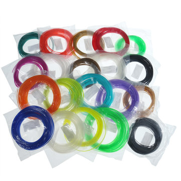 20 Colors/Pack 5/10m Length Per Color PLA 1.75mm Filament for 3D Printing Pen 0.4mm Nozzle