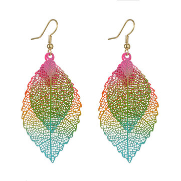 Ethnic Statement Colorful Double Layer Leaf Drop Earring Boho Piercing Dangle Earrings for Women