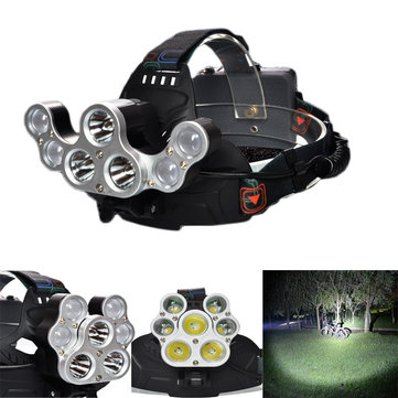 XANES 2500LM 3T6+4XPE 4 Switch Modes USB Charging 90 ° Rotation White Light Deformation Bicycle Headlamp