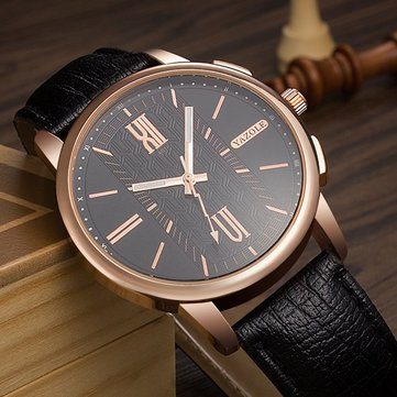 YAZOLE 401 Luxury Simple Dial Leather Strap Casual Men Watch