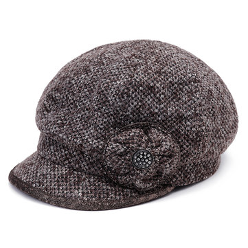 Women Winter Thickening Octagonal Cap Gold Brim Beaded Beret Peaked Painter Hat