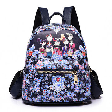 Women Printed Forest Series Floral Print Handbag Backpack Large Capacity Shoulder Bag