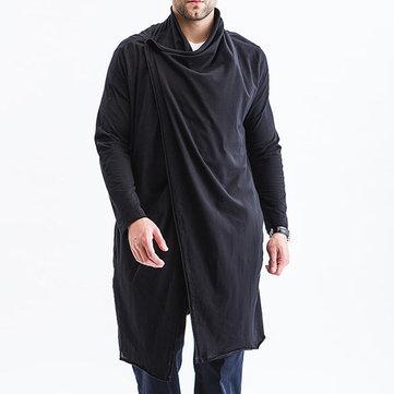 Mens Mid Long Plus Size Autumn Shawl Collar Black Knitwear
