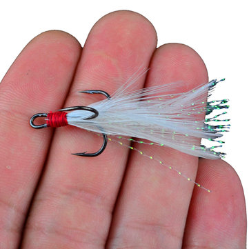 Fishing Treble hooks with Feather Bass hooks #4