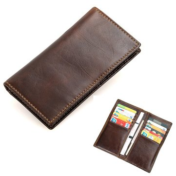 Men's Vintage PU Leather Soft Wallet Case Card Holder Purse Phone Bag for under 6 inches Smartphone