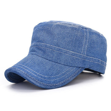 Unisex Denim Jeans Washed Adjustable Baseball Cap Flat Snapback Hat For Men Women